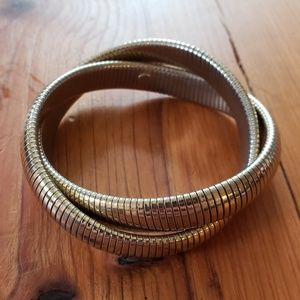 Vintage Goldtone Double Twist Stretch Bracelet